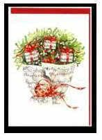 Weihnachts-Klappkarte Notenstrauß mit Misteln