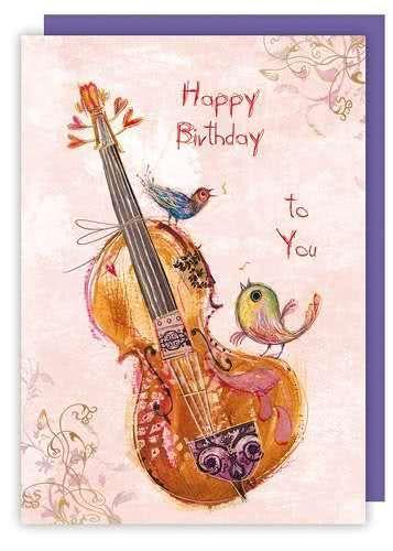 Doppelkarte Herzlichen Glückwunsch Cello
