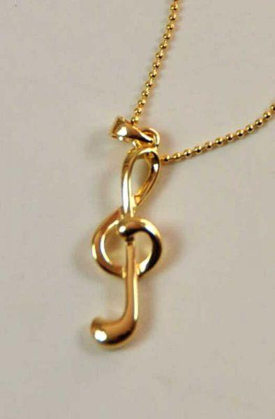 Halskette Violinschlüssel golden