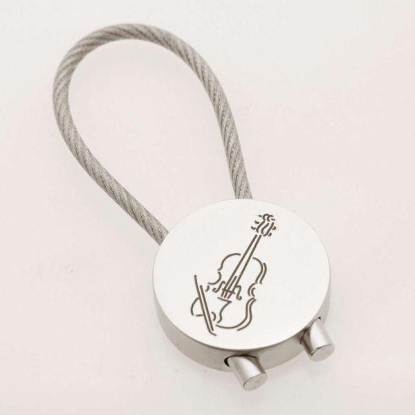 Schlüsselanhänger Violine rund, verchromt