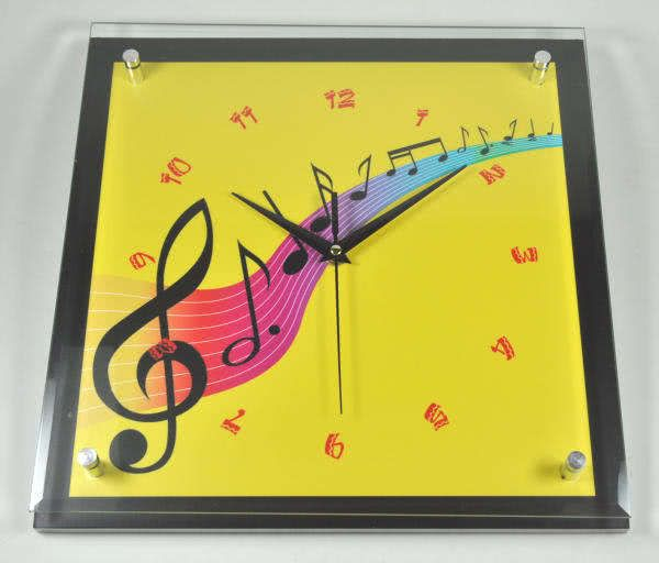Wanduhr Diana - Violinschlüssel gelb
