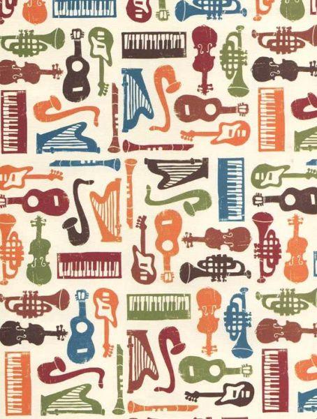 Geschenkpapier tassoti farbige Musikinstrumente