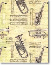 Geschenkpapier Musikinstrumente auf Notendekor