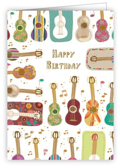 Geschenkanhänger / Minikarte Happy Birthday Gitarren