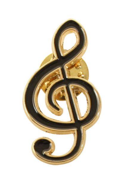 Anstecker Violinschlüssel schwarz/gold