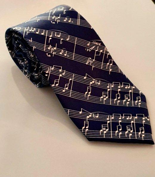 Krawatte Notenblatt dunkelblau