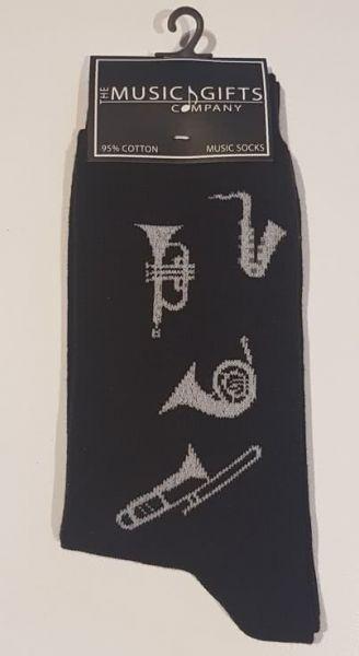 Socken schwarz Motiv Blasinstrumente