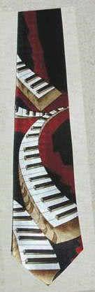 Krawatte Klaviaturen schwarz/dunkelrot