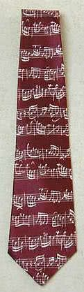 Krawatte Bach Notenschrift dunkelrot