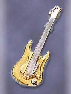 E-Gitarre, Bass, vergoldet,