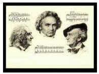 Kunst-Klappkarte Liszt, Beethoven, Wagner