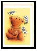 Klappkarte Teddy mit Lyra