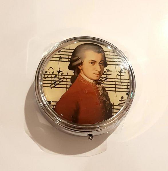 Pillendose Mozart mit Taschenspiegel