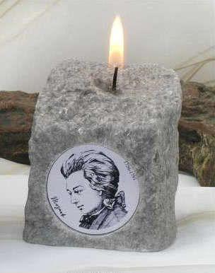 Granitsteinkerze W.A. Mozart ~6x6x7cm