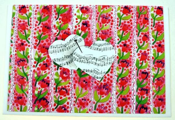 Klappkarte Herzen voller Musik (Blumen)