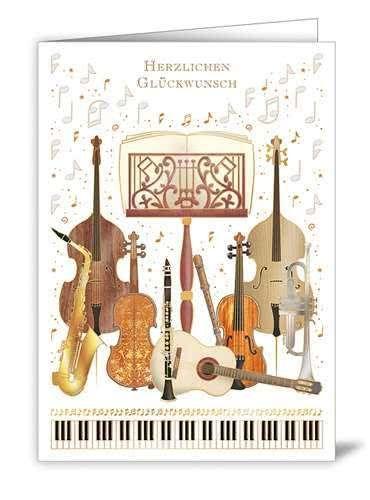 Klappkarte Herzlichen Glückwunsch (Musikensemble)