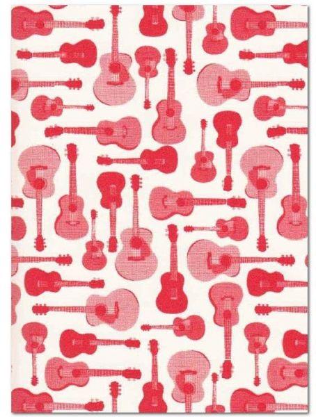 Geschenkpapier Motiv Gitarren rot