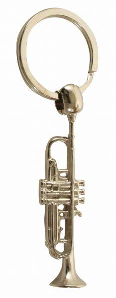 Schlüsselanhänger Trompete silbern