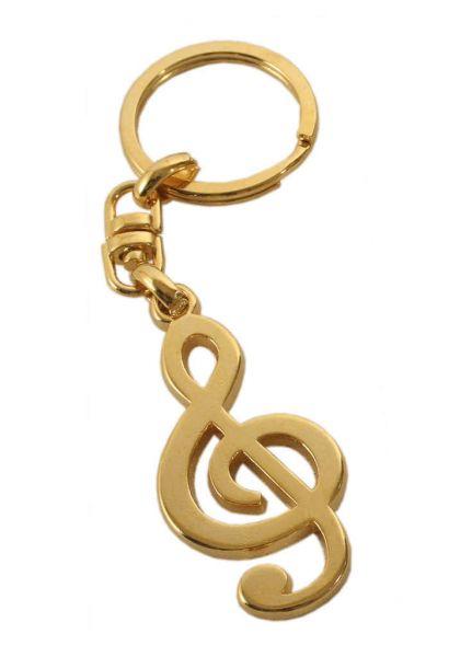 Schlüsselanhänger Violinschlüssel golden