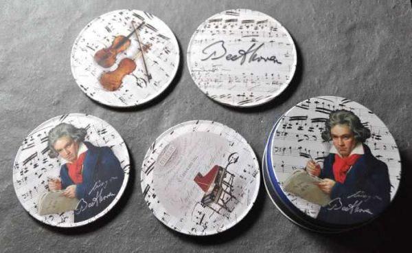 4 Untersetzer Beethoven mit Blechdose