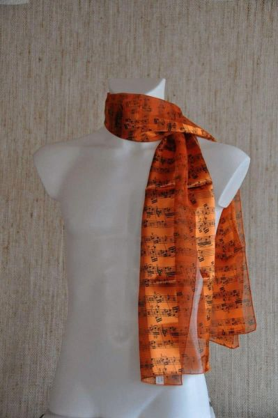 Chiffon Schal Notenschrift orange