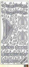 Aufkleber Harfe & Noten