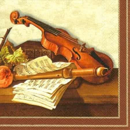 Lunchserviette Stillleben mit Violine und Blockflöte