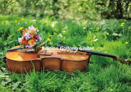 Doppelkarte Cello mit Blumenstrauß