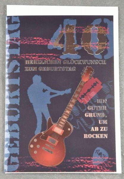Doppelkarte Herzlichen Glückwunsch zum 40.Geburtstag Gitarre