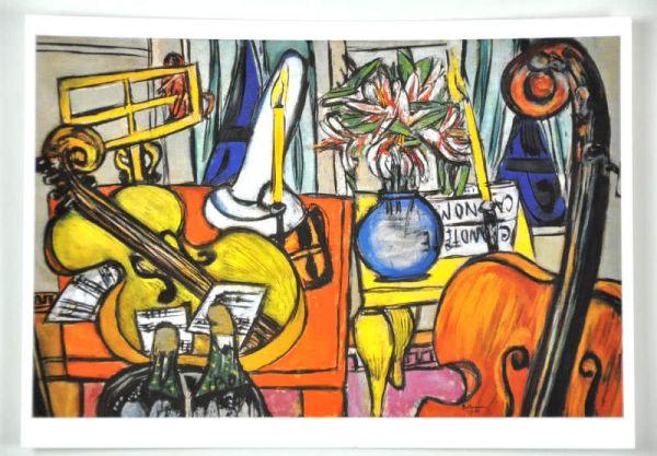 Postkarte Stillleben mit Cello und Bassgeige (Beckmann)