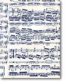 Geschenkpapier in Notendekor blau