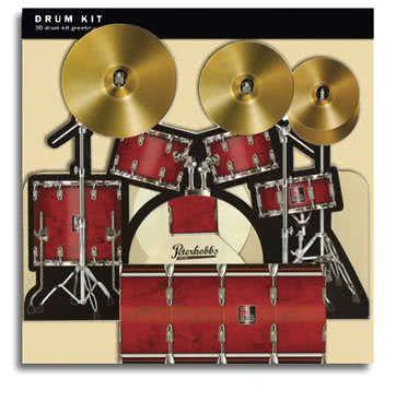 3D Klappkarte Schlagzeug