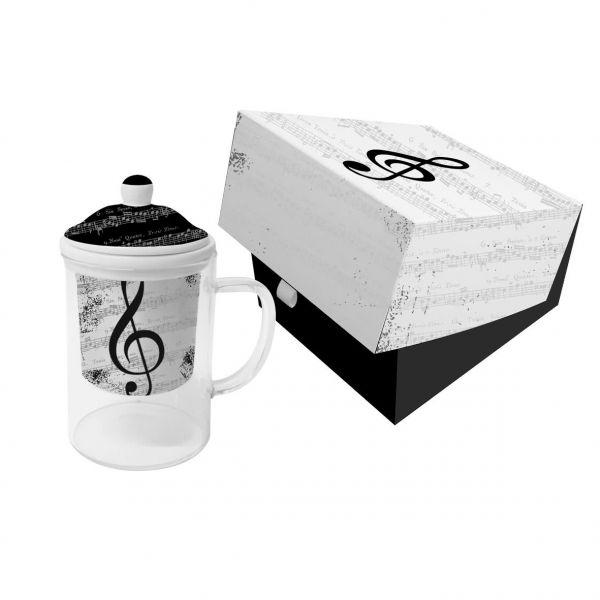 Teeglas mit Deckel und Teesieb- I Love Music