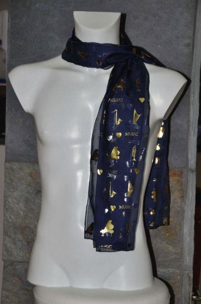 Schal I Love Music Navy Blau