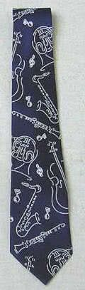 Krawatte Musikinstrumente dunkelblau