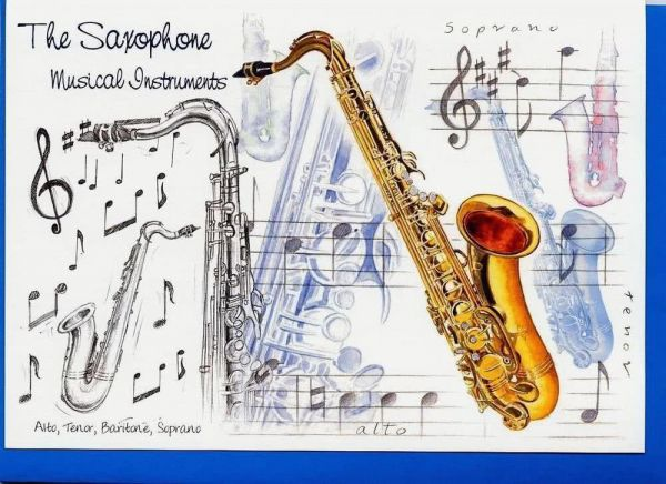 Klappkarte Musical Instruments: The Saxophone