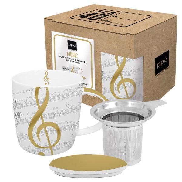 Teebecher mit Deckel und Teesieb- I Love Music real gold