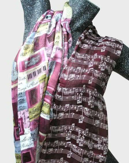 Schal Music brombeer/pink