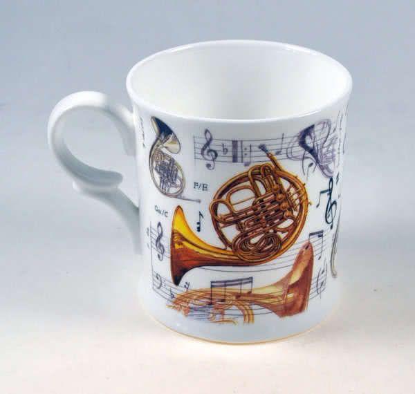 Porzellan Becher Horn Motiv