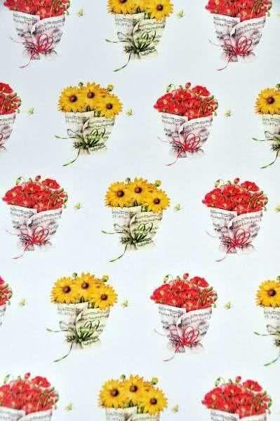 Geschenkpapier Sonnenblumen und Mohn