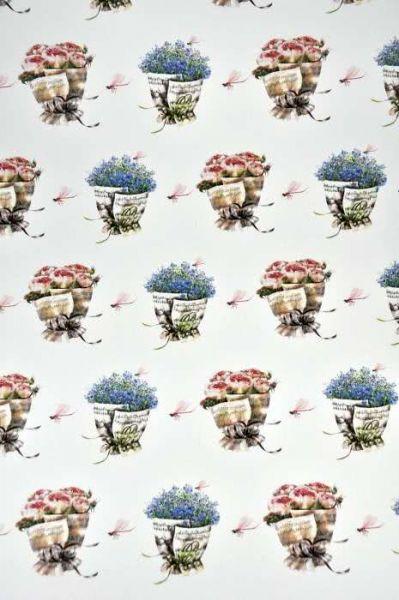 Geschenkpapier Vergissmeinnicht und Rosen