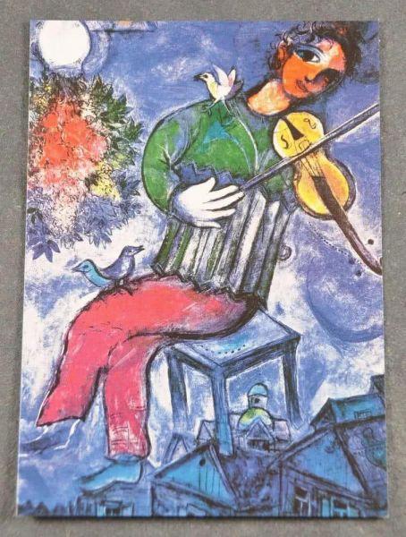 Postkarte Chagall Le violiniste bleu