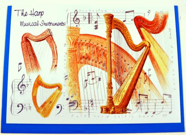Klappkarte Musical Instruments: The Harp