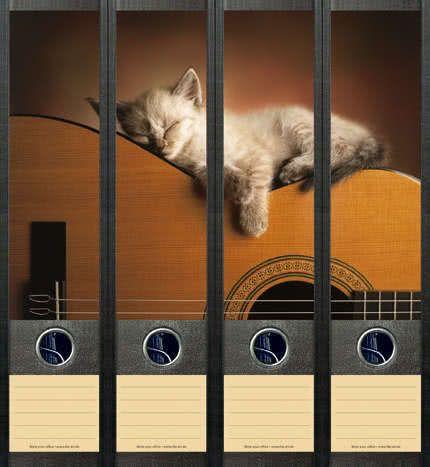 Ordner-Etiketten Cat on Guitar