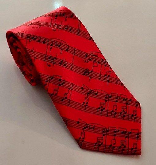 Krawatte Notenschrift rot