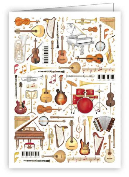 Geschenkanhänger / Minikarte Musical Instruments