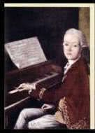 Kunst-Klappkarte Mozart, 12jährig am Klavier