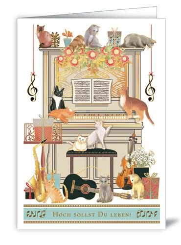 Doppelkarte Hoch sollst Du leben - Katzenmusik am Klavier