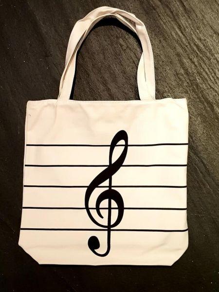 Stofftasche Shopping Bag Notenschlüssel weiß