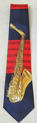 Krawatte Saxophon/Noten blau/rot